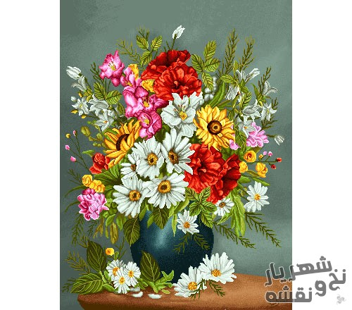 نخ و نقشه آماده بافت تابلو فرش طرح گل و گلدان کد 91357