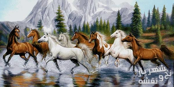 نخ و نقشه آماده بافت تابلو فرش طرح گله اسب با منظره زیبا کد 91617