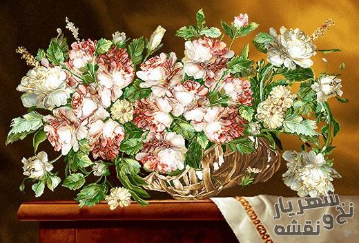 نخ و نقشه آماده بافت تابلو فرش طرح سبد حصیری گل رز روی میز کد 91237