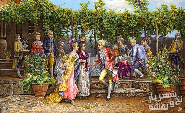 نخ و نقشه آماده بافت تابلو فرش طرح فرانسوی جشن و مهمانی کد 91833