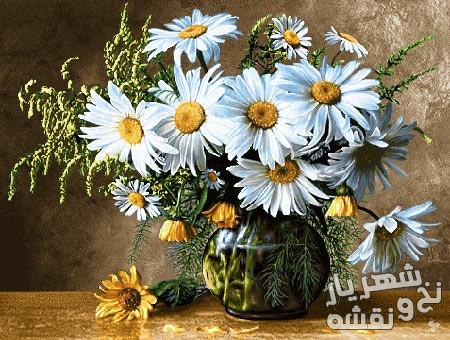 نخ و نقشه آماده بافت تابلو فرش طرح گلدان گل سفید آفتابگردان کد 91344