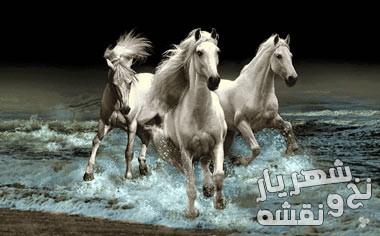 نخ و نقشه آماده بافت تابلو فرش طرح گله اسب زیبا کد 91630
