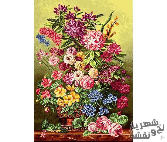 نخ و نقشه آماده بافت تابلو فرش طرح گل و گلدان فانتزی کد 91346