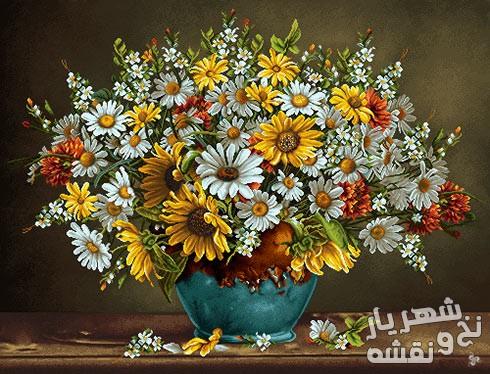 نخ و نقشه آماده بافت تابلو فرش گل آفتابگردان و گلدان آبی کد 91238