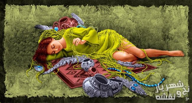 نخ و نقشه تابلو فرش طررح دخترر خوابیده جدید کد c-7953