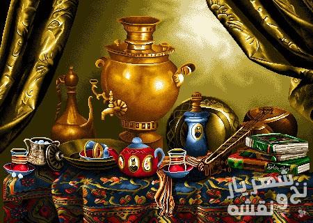 نخ و نقشه بافت تابلو فرش طرح میز ایرانی کد p-6821