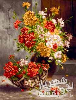 نخ و نقشه تابلو فرش طرح گل و گلدان زیبا کد g-6258