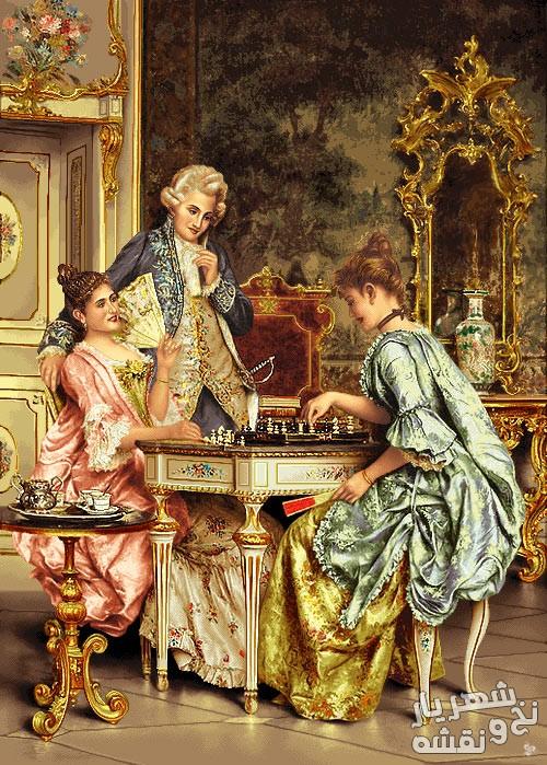 نخ و نقشه تابلو فرش طرح شطرنج باز طولی کد p-6817