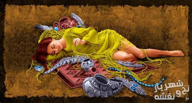 نخ و نقشه تابلو فرش طرح دختر خوابیده جدید کد c-7952