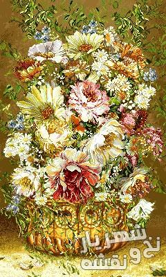 نخ و نقشه بافت تابلو فرش طرح گل و گلدان کد g-6245