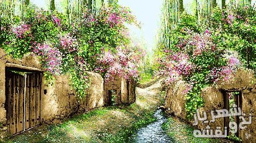 نخ و نقشه تابلو فرش طرح کوچه باغ با رنگ بندی شاد کد sh-103