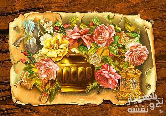 نخ و نقشه تابلو فرش طرح گل و گلدان کد g-6018