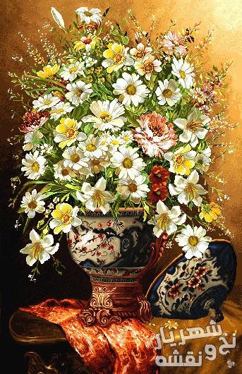 نخ و نقشه تابلو فرش گل بابونه با رنگبندی زیبا کد sh-103