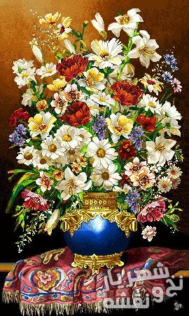 نخ و نقشه بافت تابلو فرش طرح گلدان و گل بابونه طولی جدید کد j-115