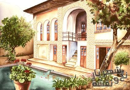 نخ و نقشه اماده بافت تابلو فرش خانه سنتی کد N-7051