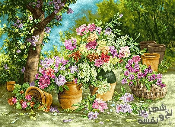خرید آنلاین نخ و نقشه تابلو فرش طرح دو گلدان کد g-5958