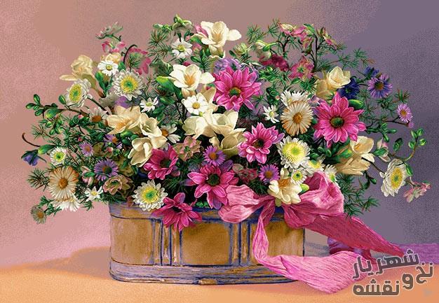 نخ و نقشه آماده تابلو فرش طرح گل و گلدان زیبا کد g-5910