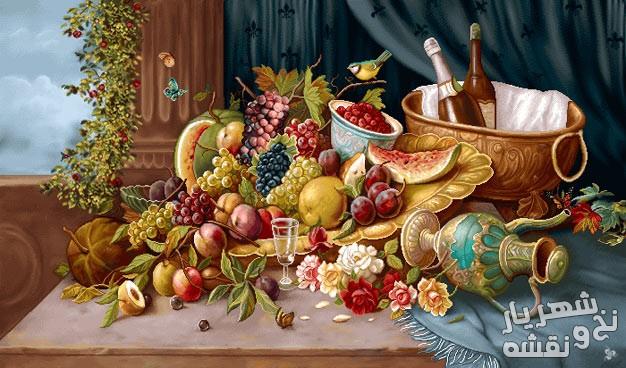 نخ و نقشه تابلو فرش طرح گل و میوه کد g-5924