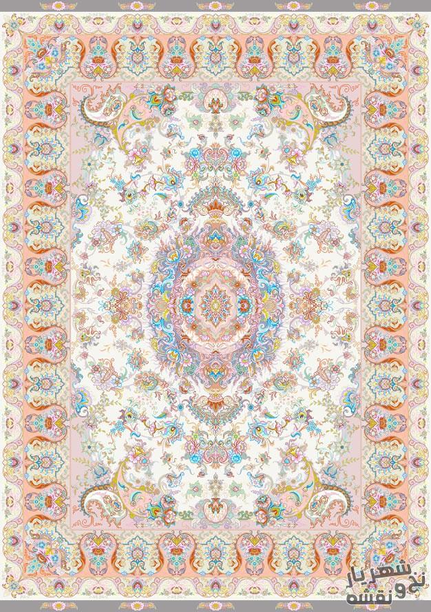 نخ و نقشه فرش دستباف طرح سه متری زمینه کرمی کد r-5528
