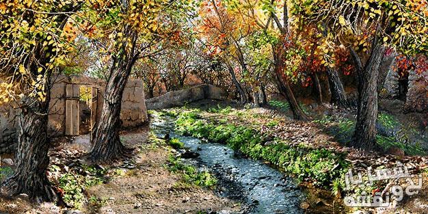 نخ و نقشه و مصالح بافت تابلو فرش طرح کوچه باغ پاییزی زیبا کد j-186