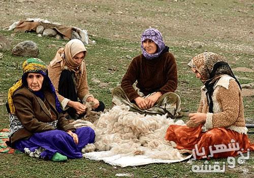خرید نخ و نقشه تابلو فرش طرج نخ ریسی عشایر کد j-194
